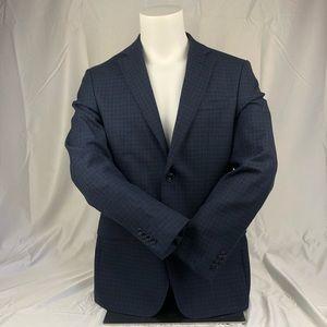 Michael Kors Navy Blue Pattern Suit Jacket Blazer